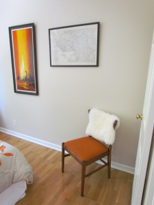My chair DIY project from last year in all it's orange glory aside my DeMan Goodwill find!