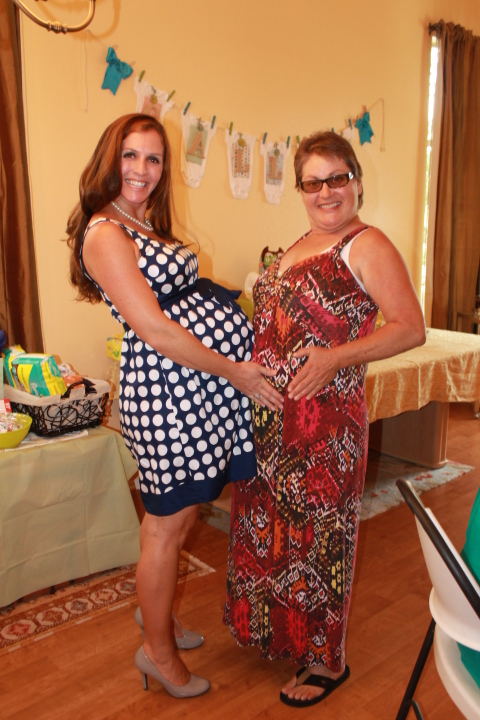 My aunt and I comparing tummies