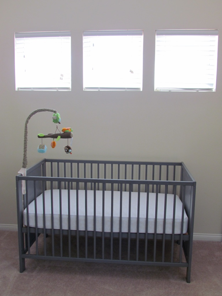 Ikea Crib repainted in gray for Round 3
